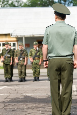 battalion: MOROZKI, RUSSIA - July 14, 2007 - Young Russian soldiers on a military Oath day in army