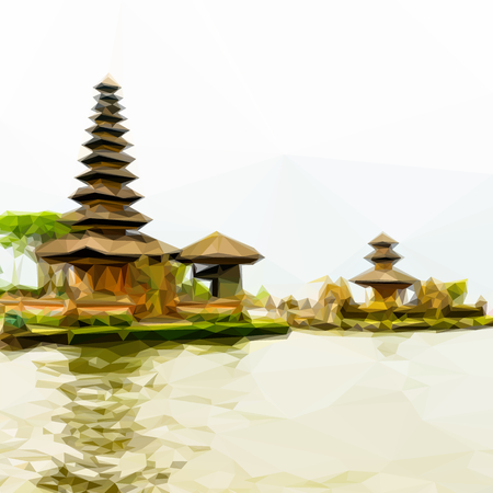 an island tradition: Bedugul Bali Background with famous Pura Ulun Danu Beratan temple