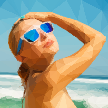 Low-poly girl on sea beach with sunglasses