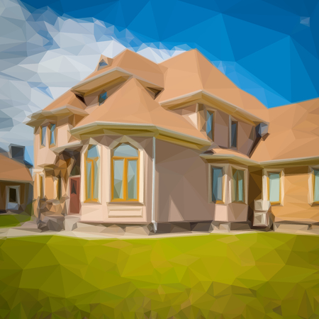 backyard: Illustration of a luxury house in spring or summer season, with backyard garden, green grass