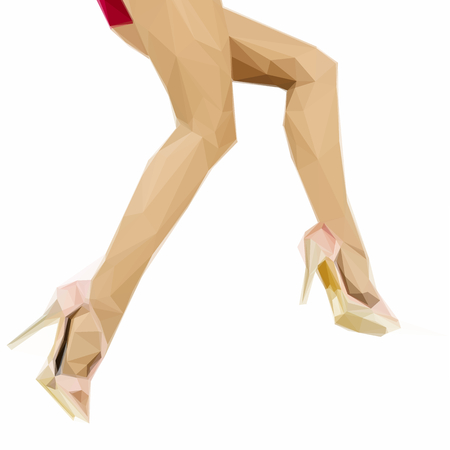 legs woman: woman legs with stiletto shoes polygonal illustration