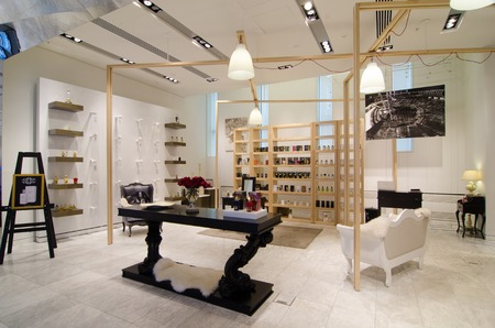 parfum: MOSCOW, RUSSIA - April 11, 2012 - Parfume corner in large shopping centre downtown Moscow Editorial
