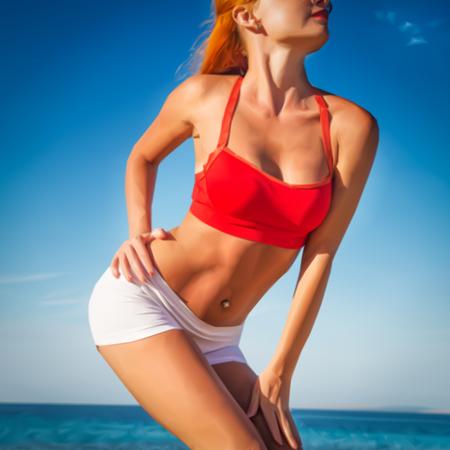 torso: Torso of luxurious sporty woman in red top sunbathing illustration Illustration