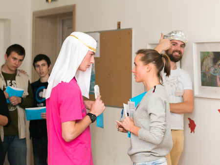 role playing: MOSCOW, RUSSIA - August 31, 2014 - Participants of social quest role playing game with Arab Mystery Detective Investigation theme Editorial