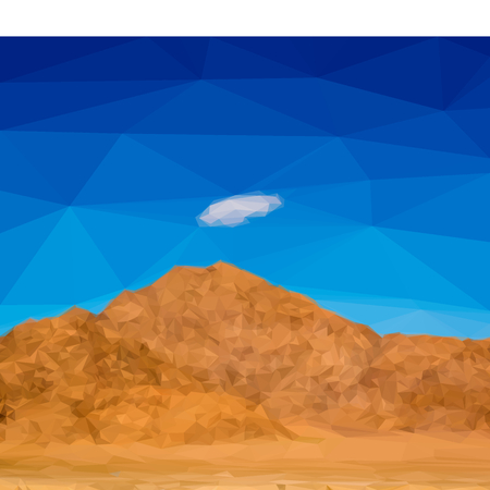 dunes: Low poly desert mountain landscape with cloud