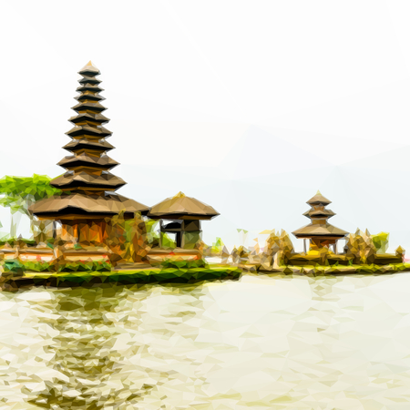 danu: Bedugul Bali Background with famous Pura Ulun Danu Beratan temple