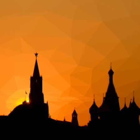 moscow city: Russian Kremlin silhouette in the city Moscow illustration