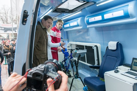olympiad: Moscow, Russia - November 28, 2013 - Olympic medical training and support centre for Russian National Team shows their mobile testing vehicle Editorial