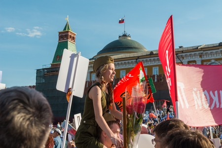forefather: Moscow, Russia - May 9:  Immortal Regiment  marches on. Moscow celebrates 71-th Victory Day anniversary on May 9, 2016 in Moscow.