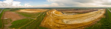 sand quarry: Large sand quarry. Sand pit panorama aerial shot