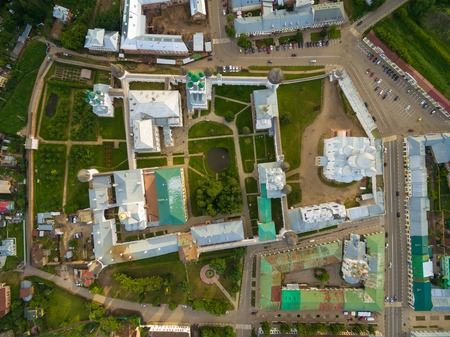 birdeye: Aerial Bird-eye view of Gorgeous Rostov the Great Kremlin, Part of Russia Golden Ring Historical Heritage