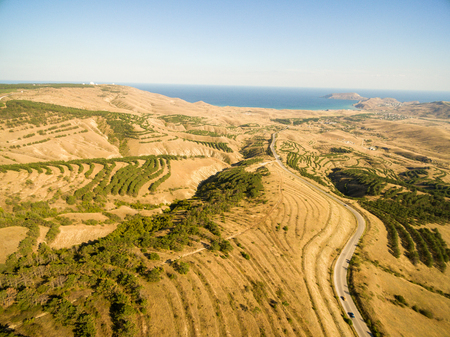 Late summer aerial landscape in Crimea mountains near Black Sea