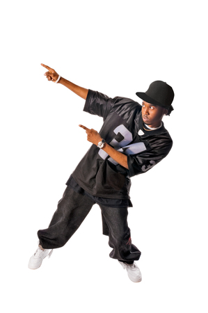 Cool young hip-hop man on white background Stock Photo