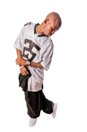 rapping: Cool young hip-hop man on white background Stock Photo