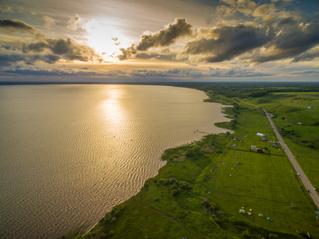 Beautiful lake at sunset - aerial view Stock Photo