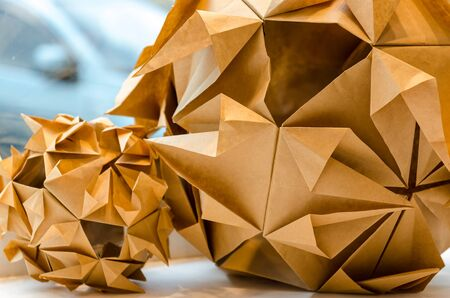 Closeup view of origami ball