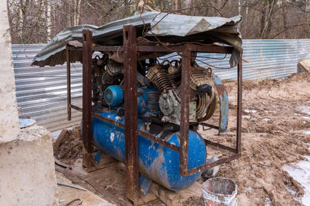Diesel generator on Construction site at winter