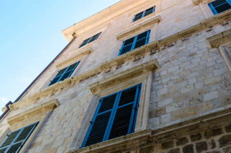 Facades of old town Dubrovnik 免版税图像