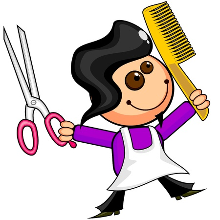 scissors hair: Smiling cartoon barber with scissors and comb Illustration