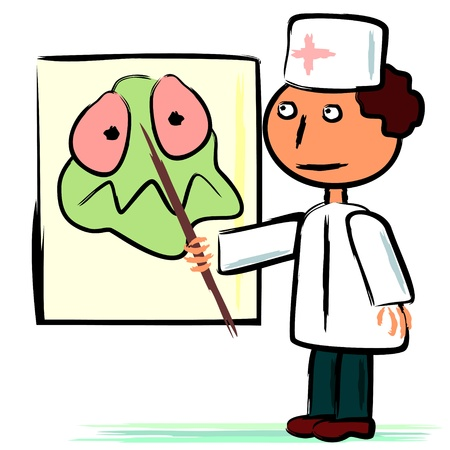 Cartoon doctor showing with pointer big germ on poster Vector