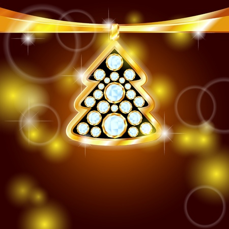 Christmas card design with golden fir tree with diamonds Vector