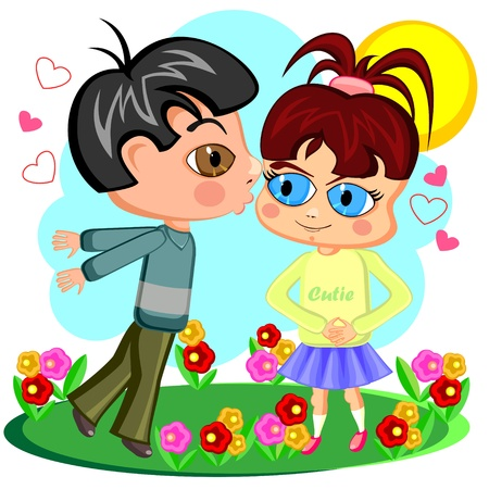 Little boy trying to kiss little girl on green meadow Stock Vector - 11530792