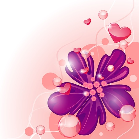 adoration: Valentine card design with exotic purple flower and hearts