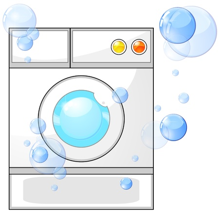 laundry concept: Generic white washing machine and soap bubbles