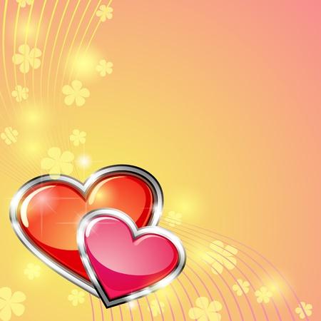 bodas de plata: Diseño de la tarjeta de San Valentín con dos corazones brillantes de plata con aro