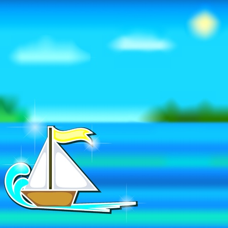 Marine landscape with small cartoon sailboat on wave
