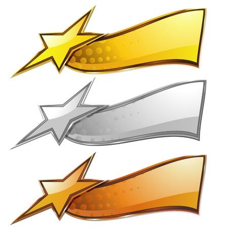 Set van drie metalen borden met ster geà ¯ soleerd over white