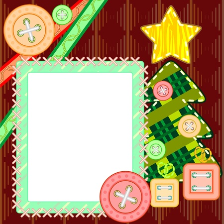 Scrapbook template for New Year or Christmas with fir tree and frame Vector