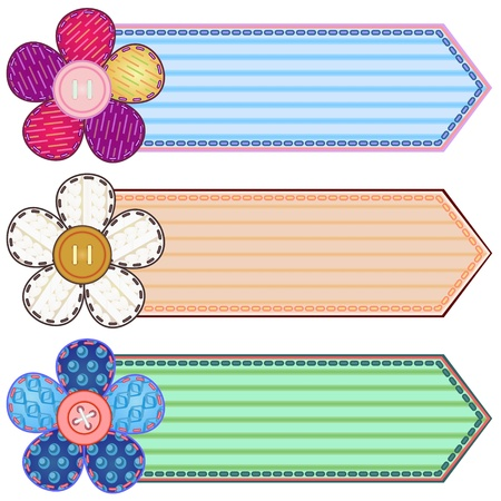 Set of scrapbook banners with flowers and stitches