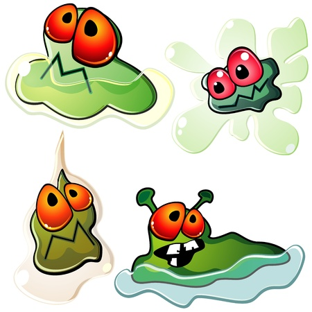 contagion: Four ugly germs with splashes or drops of slime