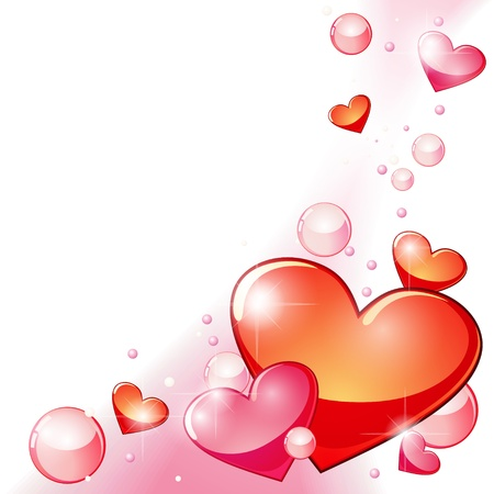 adoration: Valentine background with pink and red bubbles and hearts  Illustration