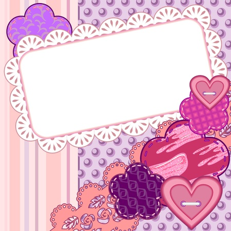 adoration: Scrapbook card with hearts, flowers and space for text