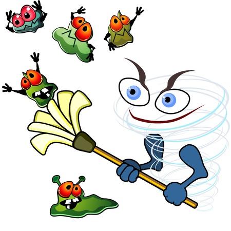 microbio: Giro con un trapeador como concepto de la higiene o la acci�n antibi�ticos