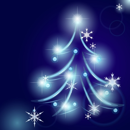 Blue card design with stylized Christmas tree Vector