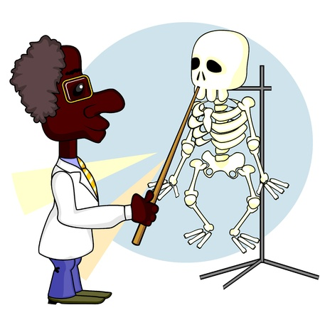 biologist: Young African American man showing something on human skeleton
