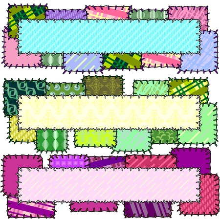 snippet: Set of three banners made of patches with stitches