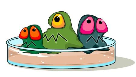 microbiologia: Vidrio placa de Petri con agar y tres gérmenes de dibujos animados