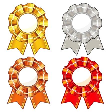 escarapelas: Conjunto de cuatro rosetas aislados con cintas de colores Vectores