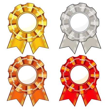 rosette: Set of four isolated colorful rosettes with ribbons