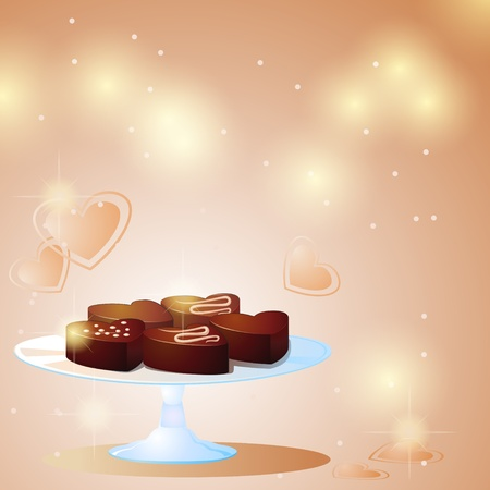 fondness: Valentine background with glass plate and chocolate sweets