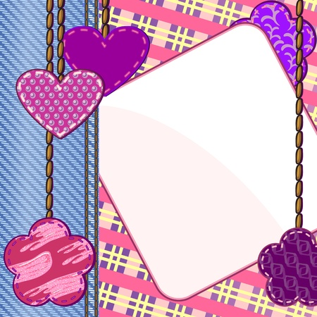 Scrapbook card with hearts and flowers and blank note Vector