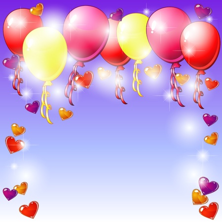 Blue party card with colorful balloons and hearts Vector