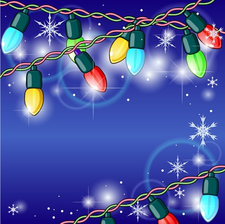 Winter holiday background with shining Christmas lights Illustration