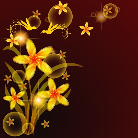 Floral background with bunch of golden flowers and birds Vector