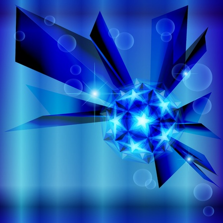 the polyhedron: Blue abstract background with shiny polyhedron made of stars Illustration