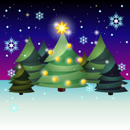 Group of fir trees over dark sky and snowfall Vector